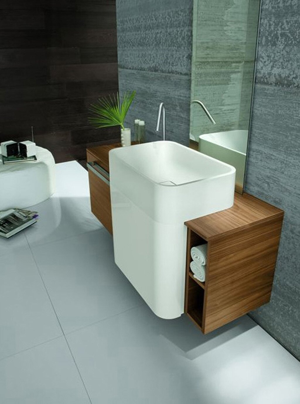 Top 15 bathroom sink designs and models mostbeautifulthings for Sink with vanity for small bathroom