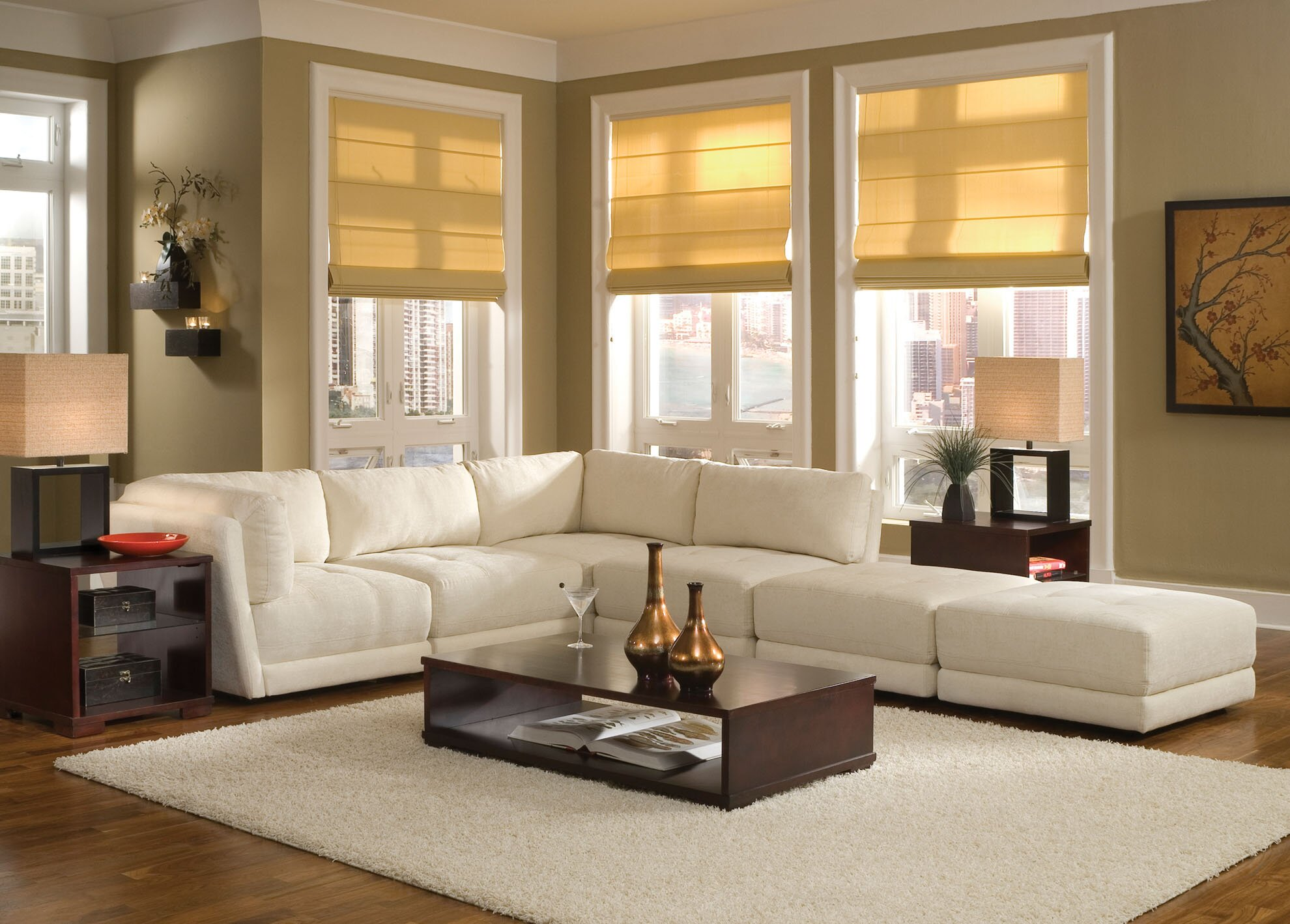 Cozy Living Room Beautiful White Big Sofas Darkwood CoffeeTable