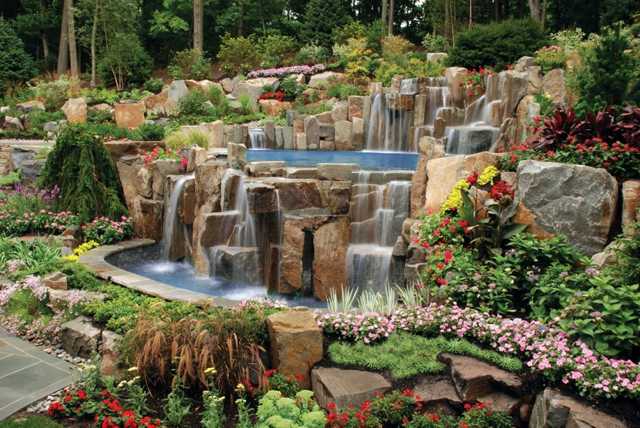 Garden decoration ideas with 15 pinterest pics for Pictures of backyard waterfalls