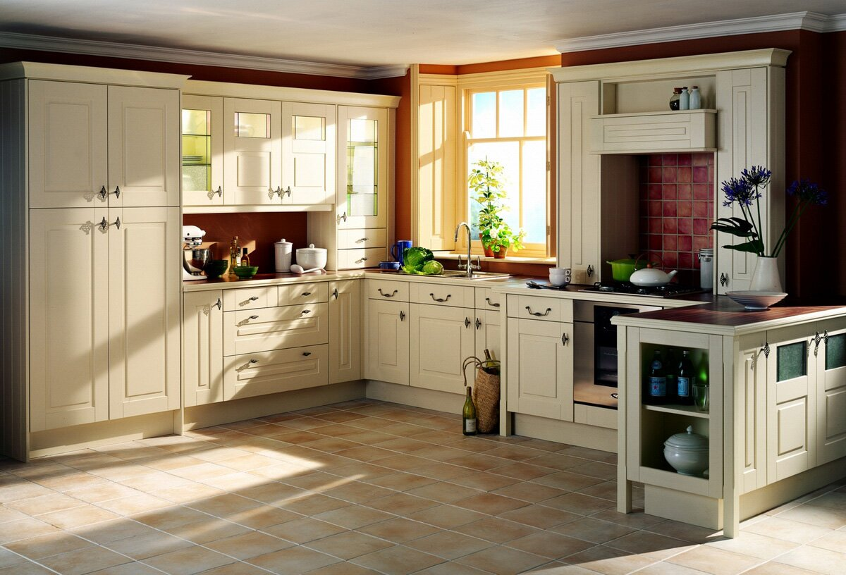 15 great kitchen cabinets that will inspire you for Country kitchen floor ideas