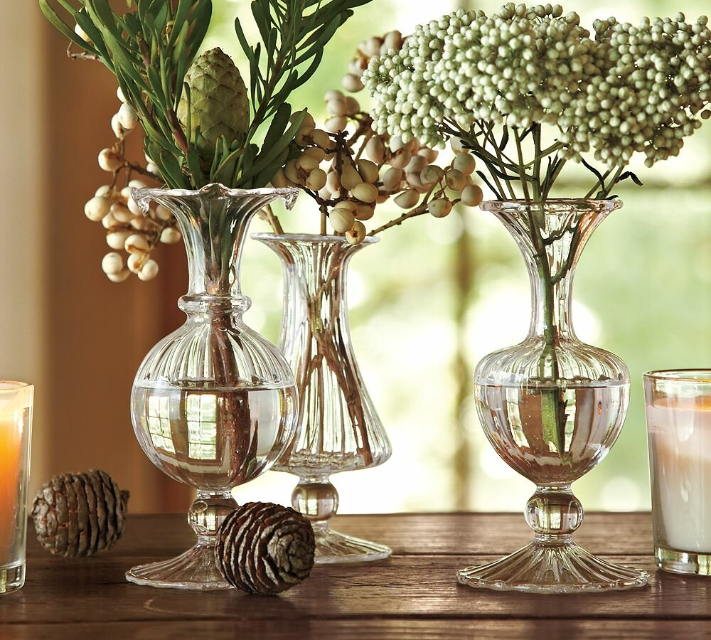 Interior Holiday Decorating Ideas With Glass Vases For
