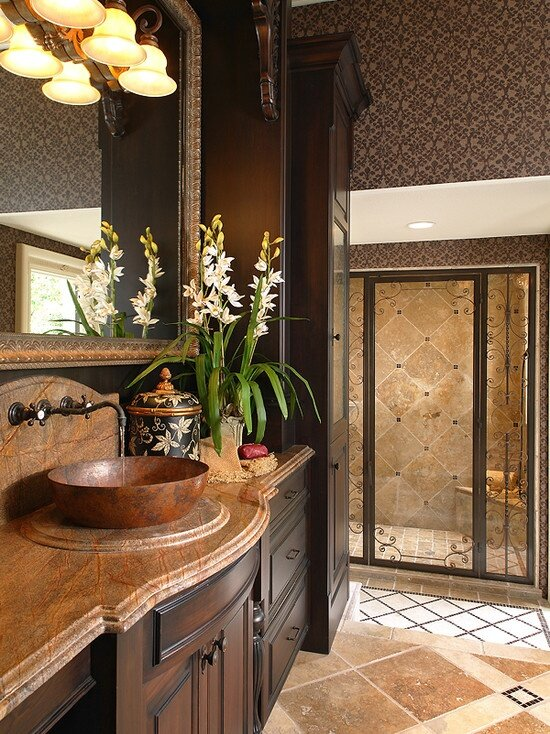 Top bathroom design ideas in 22 examples mostbeautifulthings for Small mediterranean bathroom