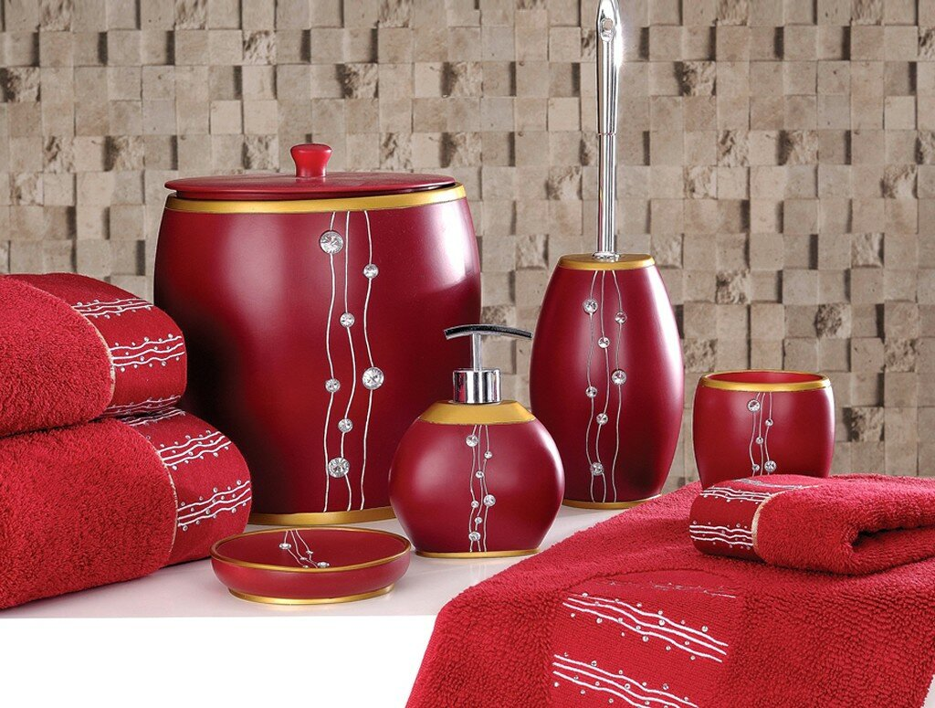 25 examples of beautiful bathroom accessories for Red and black bathroom accessories sets