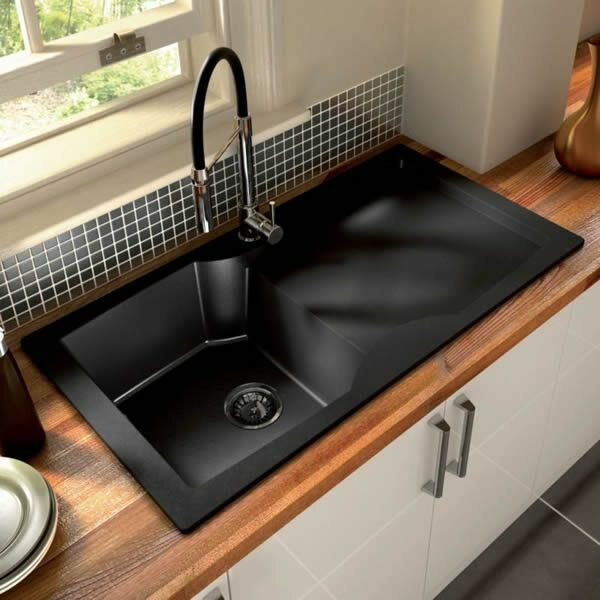 Top 15 black kitchen sink designs mostbeautifulthings for Black kitchen design