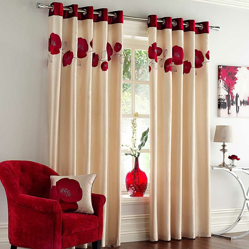 Top 22 curtain designs for living room mostbeautifulthings for Red and cream curtains for living room