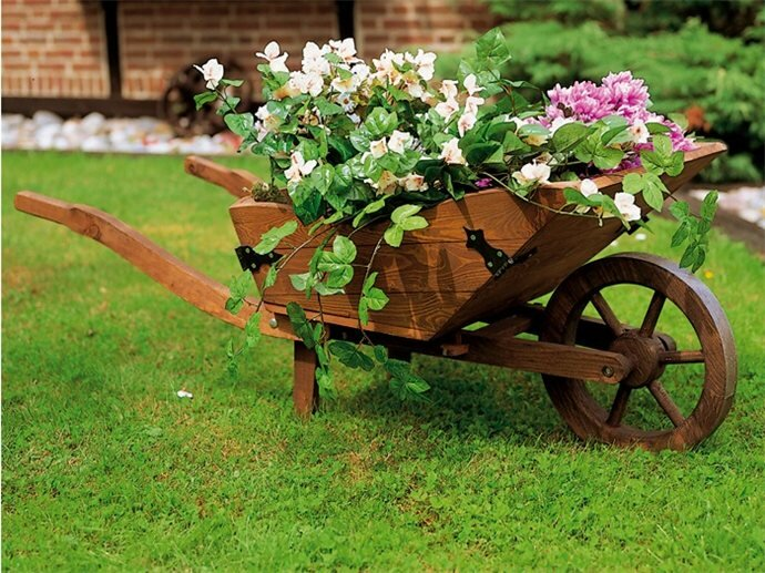 Декоративная телега для сада своими руками фото