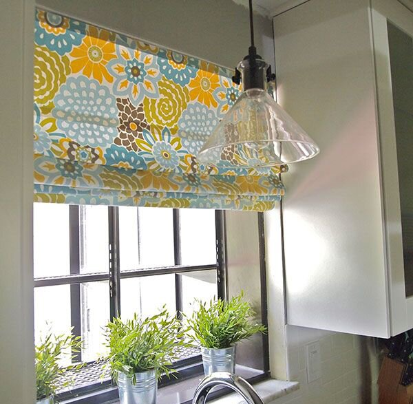 19 inspiring kitchen window curtains mostbeautifulthings for Fabric shades for kitchen windows
