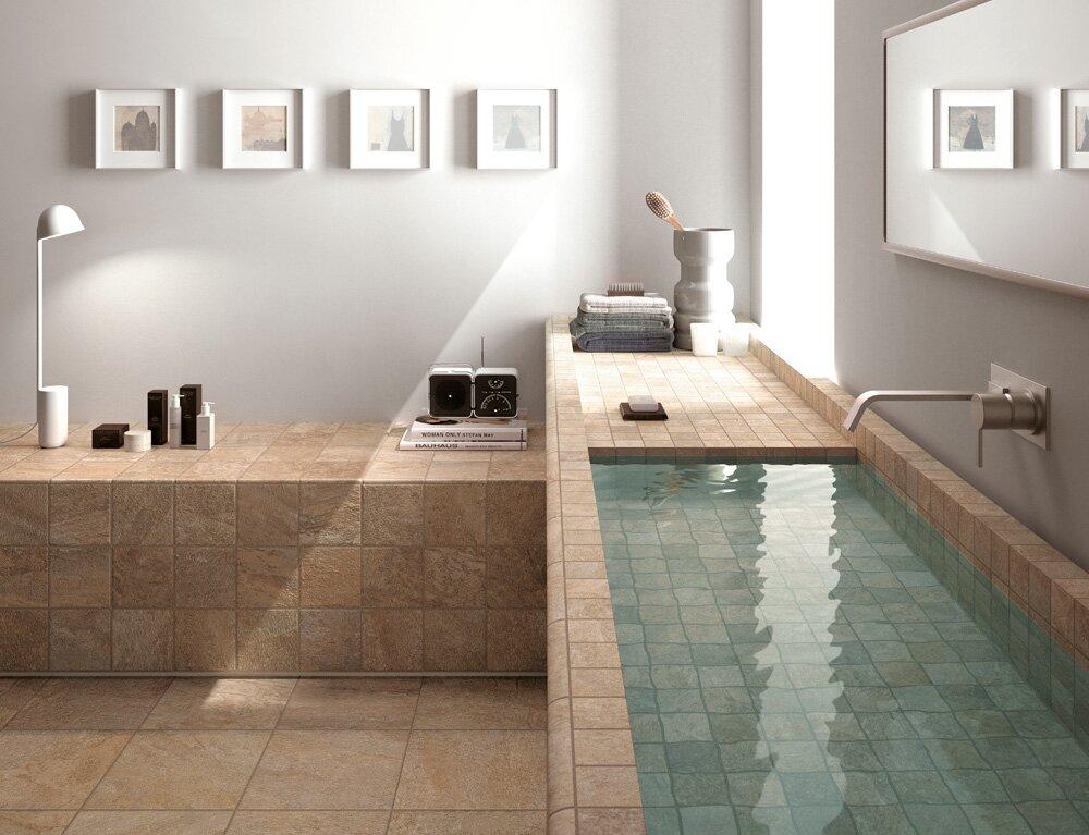 Salle de bain rustique moderne avec des for Salle bain rustique