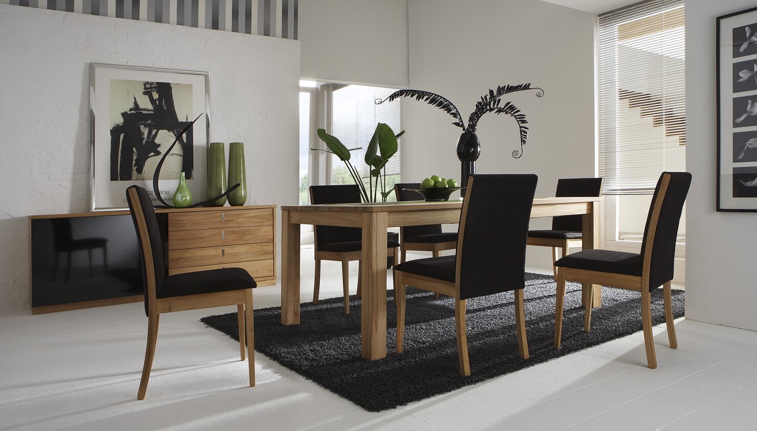 23 modern dining room examples with photos for Modern dinning room table