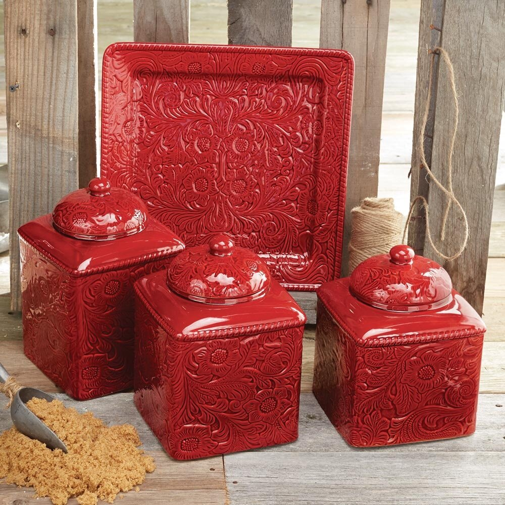11 kitchen decors with using red accessories for Kitchen set red