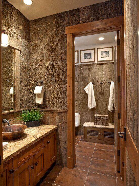 22 best examples of rustic home decor mostbeautifulthings for Cabin shower tile ideas
