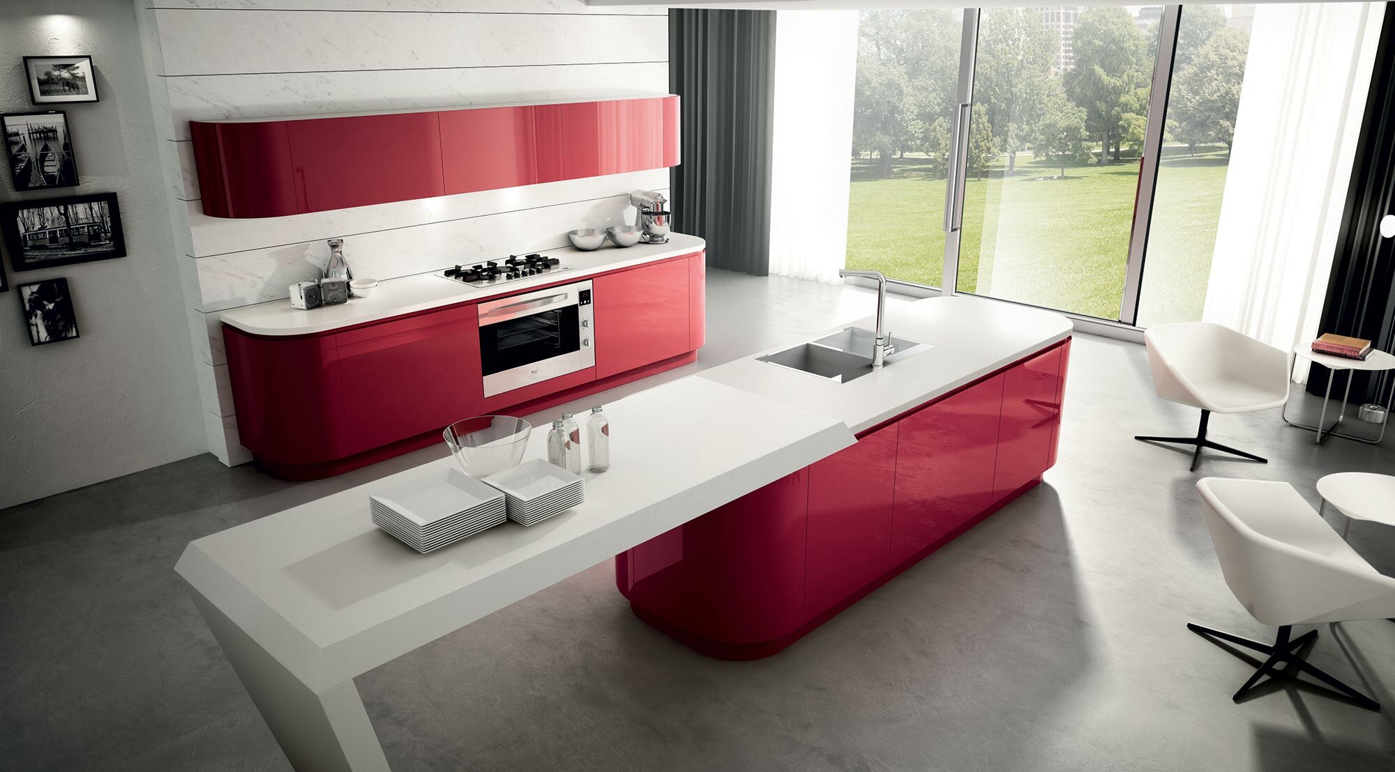A modern kitchen design in white and burgundy red color